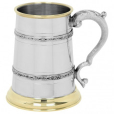 [EP152] 1 Pint Pewter and Brass Tankard